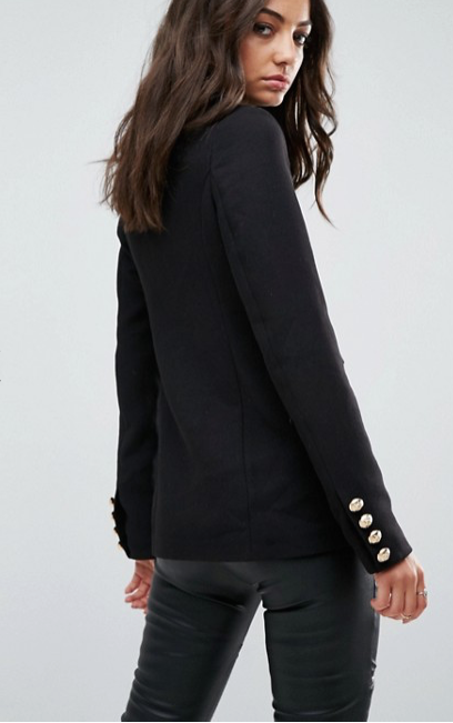 Glamorous Tall Tailored Military Blazer Metal Trims